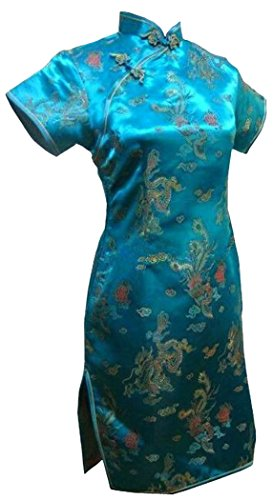 UK Seller Turquoise Dragon & Phoenix Chinese Short Evening Mini Party Dress Cheongsam Qipao Despatch same Working Day (UK 16)