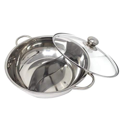 BESTONZON Besonzon Hot Pot Kocher, Mandarine Ente, Küche, Kasserolle, Suppenkochen, Kochwerkzeug, 2 Gitter, 2 Geschmacksrichtungen, 30 cm, Edelstahl, mit Glasdeckel (30 cm) - Hot Pot