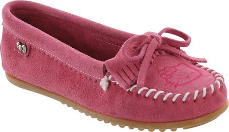 Minnetonka Womens Hello Kitty Kilty Moccasin Slip-On Hot Pink