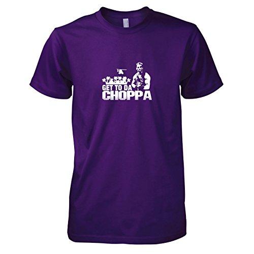 Texlab - Arnold: Get to da Choppa - Herren T-Shirt, Größe XL, violett (Arnie Predator Kostüm)
