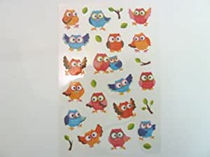 Owl & Bird Stickers Kids / Childrens Labels for party bags , scrap books , card making or notebook decoration