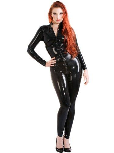 Skin Two Clothing Latex-Catsuit mit Zipverschluss an der Vorderseite Schwarz Größe: XL