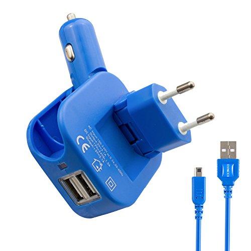 Exlene® 3DS Cargador USB para coche y pared con cable de 1.2M 3DS para Nintendo 3DS, 3DS XL, 2D, DSi, DSi XL, iPhone, ipad, Smartphone y más (azul)