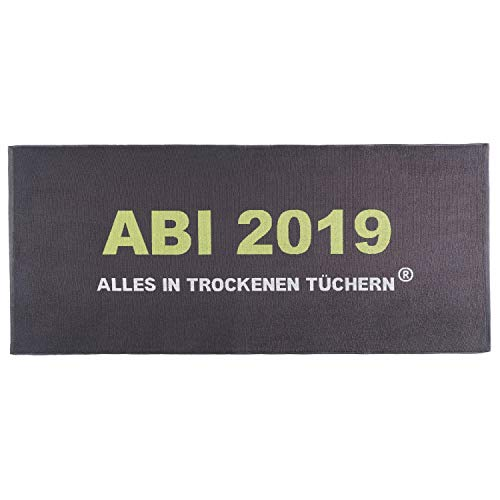 Egeria Strandlaken Strandtuch ABI 2019 Anthrazit Abitur Geschenk 75 cm x 180 cm