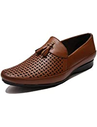 Grayson REDFOOOT AOREO Men's Brown Leather Loafers Leather Look Men Brown Driving Casual Loafers Shoes Look Men...