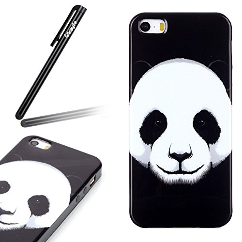 UltraSlim Case per iphone 6 4.7, Solido Nero Custodia Lucida Per iphone 6S, Ukayfe Black Back Series Custodia Morbido TPU Gel Silicone Protettivo Skin Protettiva Shell Case Cover per iphone 6/6S 4.7  Cute pandas