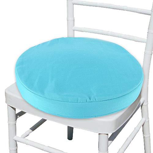 Welcomefee, cuscino rotondo per sedia da bistrot con lacci, 36 cm, impermeabile, per sedie circolari da giardino, copertura rimovibile per cucina, interni ed esterni blue