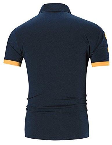 YCHENG Herren Poloshirt Kurzarm Stehkragen Slim Fit Polohemd Polo T-Shirt Blau