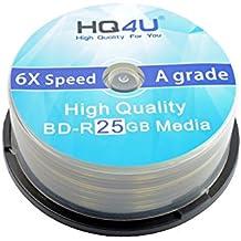HQ4U Blu-ray BD-R espacios en blanco, 6 x velocidad, 25 GB de almacenamiento torre de 25 unidades
