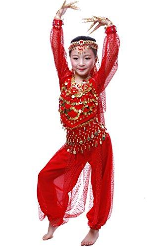 Kostüm Harem Girl Rote - Astage Mädchen Lange Ärmel Bauchtanz Kostüm Set Alle Ornamente Rot XL