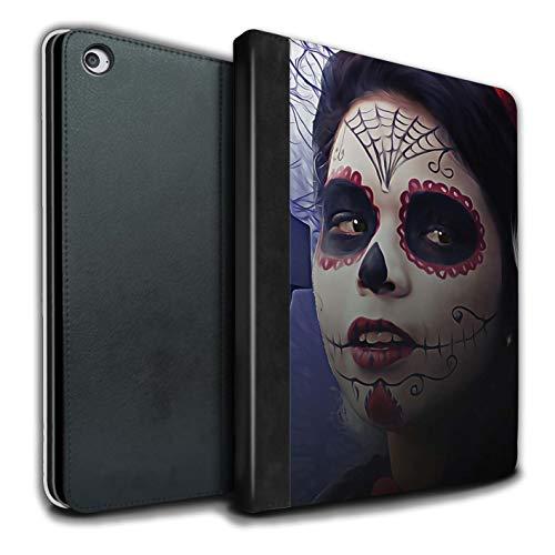 Stuff4® pu pelle custodia/cover/caso libro per apple ipad air 2 tablet/halloween trucco/giorno della morte festival disegno