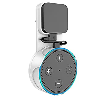 SPORTLINK Wandhalterung Halterung Ständer für Dot 2nd Generation(Ausgabe 2017), Aufgehängt Wall Mount Für Home Voice Assistants, Direkt in der Steckdose, mit Kurzen Schwarz USB Kabel (Weiß)