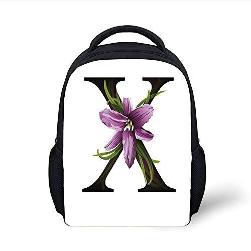 Kids School Backpack Letter X,Xerophyta Viscosa Flower on Capital Letter X Concept Alphabet Graphic Art Decorative,Violet Green Black Plain Bookbag Travel Daypack