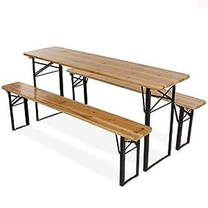 Primopet BTS180 Homelux Ensemble table et bancs pliants 3pièces 180cm