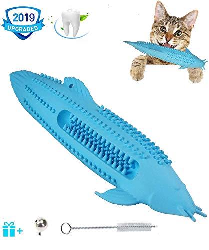 Katze Fischform Zahnbürste, Katzen-Zahnbürste Katzenminze Spielzeug zum Kauen, Katze Zahnreinigung aus Gummi Spielzeuge, Umweltfreundlich Silikon Molar Stick, Fisch Flop Spielzeug für Katzen