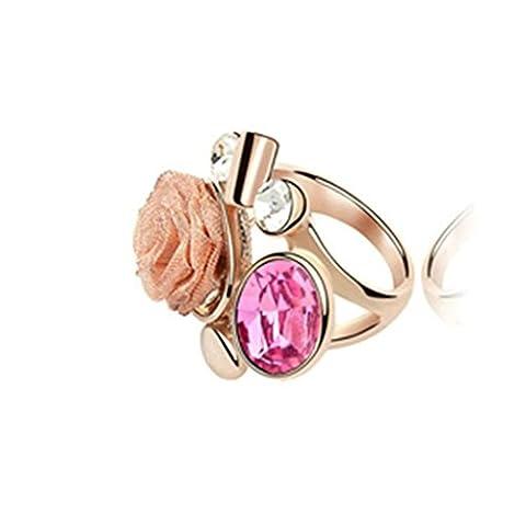 Gnzoe Femme Acier Inoxydable Rose Fleur Rond Cristal Rose Rouge Bagues de Fiançailles Alliance Taille 54