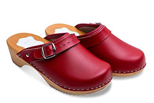 futuro Fashion femmes en bonne santé naturel cuir véritable en bois semelle Uni sabots unisexe Couleurs Tailles 3-8 UK Rouge
