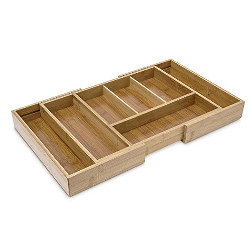 Relaxdays Besteckkasten ausziehbar HBT: 5 x 48,5 x 28 cm Besteckeinsatz aus Bambus mit 5 bis 7 Fächern als Küchenorganizer und Schubladeneinsatz pflegeleichte Besteckeinlage für alle Schubladen, natur -