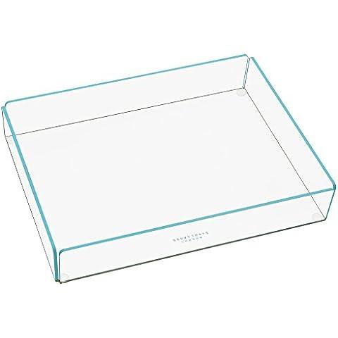 Savvy bandejas Flash organizador grande transparente acrílico apilable bandeja de almacenamiento con brillantes Aqua Color azul