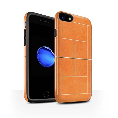 Coque Brillant Robuste Antichoc de STUFF4 / Coque pour Apple iPhone 7 Plus / Court en dur Gris Design / Courts de Tennis Collection Terre Battue Orange