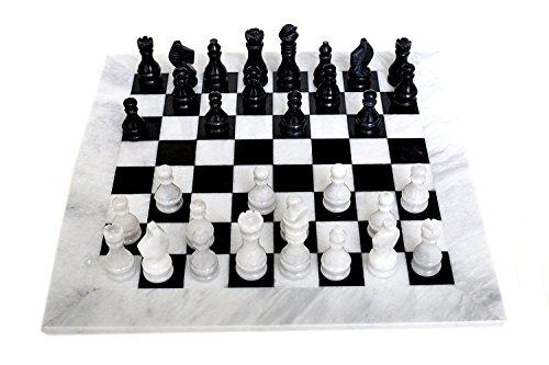 RADICALn komplett handgefertigt Original Marmor Schachbrett Spiel Set zwei Spieler Full Chess Spieltisch Set (WHINBLK) - RADICALn Completely Handmade Original Marble Chess Board Game Set Two Players Full Chess Game Table Set (WHINBLK)