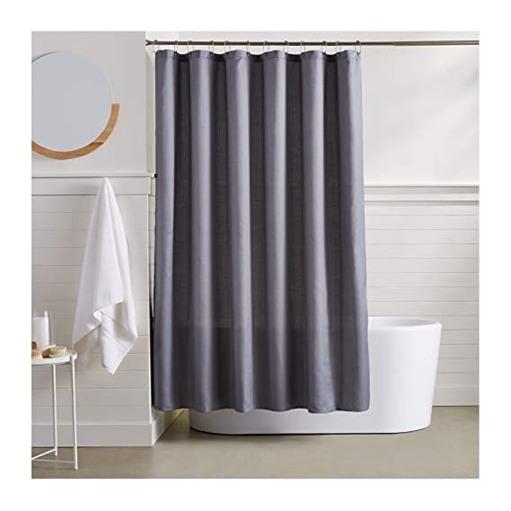 AmazonBasics Linen Style Shower Curtain - Grey