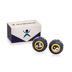 Meditation Qi-Gong-Kugel Paar mit Klangwerk | Klangkugeln | Yin Yan | Design YIN YANG BLAU | mit hochwertiger und wiederverschließbaren Aufbewahrung Magnetbox