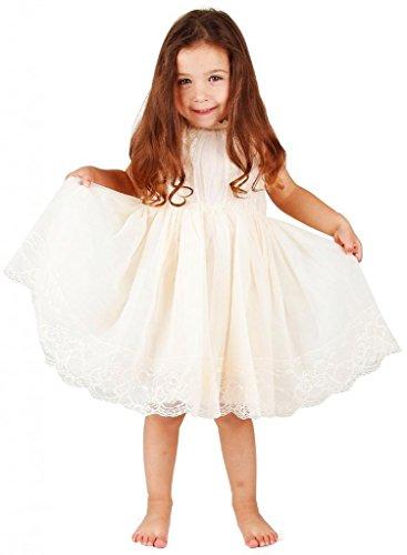 Bow Dream Mädchenkleid aus Vintage Spitze Elfenbein Creme 2 Jahre (Elfenbein Tüll Mädchenkleider)