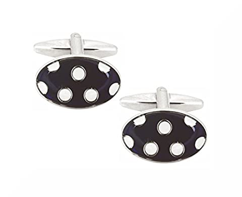 White Dots on Blue Enamel Cufflinks. Premium Quality Cufflinks from the Dalaco Enamel Collection. Luxury (Smalto Dot)