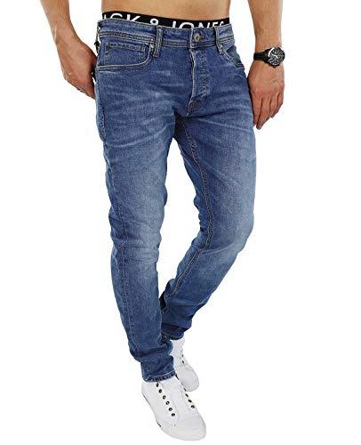 Jack & Jones Herren Slim Fit Jeans Denim Used Look (W33 L32, Blue Denim)
