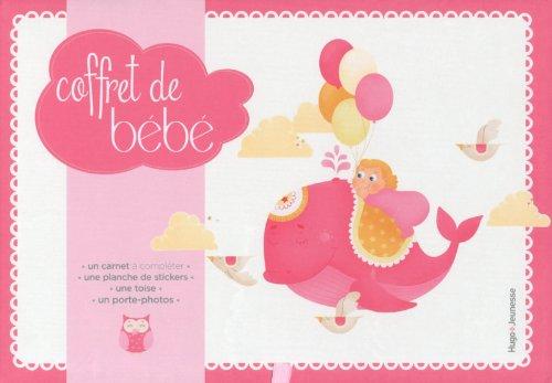 Coffret de bébé fille : Avec un carnet à compléter, une planche de stickers, une toise, un porte-photos par Caroline de Hugo