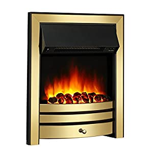 Endeavour Fires Roxby Inset Electric Fire, Brass Trim and Fret, 220/240Vac 1&2kW, 7 day Programmable Remote control