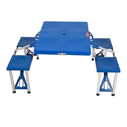 Wulihong-tavolo campeggio tavolo da picnic pieghevole da esterno con 4 posti tavolo e panche portatili da 5 posti con custodia