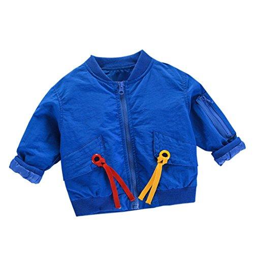 Longra Baby Kinder Mädchen Junge Herbst-Winterjacke Trench Coat Kinder Warme Übergangsjacke Steppjacke Outdoorjacke Windbreaker Softshelljacken Outwear (0-5Jahre) (80CM 2Jahre, Blue) (Blue Coat Jungen)