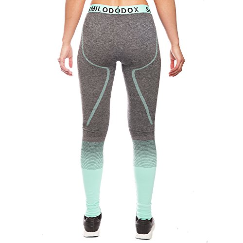 Sport Leggings Damen | Seamless - Figurformende Leggins für Sport Gym Training & Freizeit | Sporthose | Workout Trainingshose | Shape Tights Laufhose | SMILODOX, Größe:L, Farbe:Anthrazit/Mint - 3