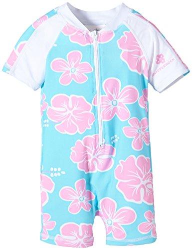 Snapper Rock Baby Mädchen & Knirpse UPF 50+ UV schützend warm Kurzarm Badeanzug für Kinder Licht Blau/Rosa/Blume 0-6 Monate, 62-68cm