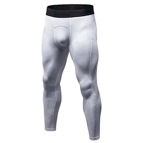 Bmeigo Herren Workout Leggings 3D Running Exercise Tight Bodybuilding Sport Hose White