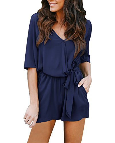 Auxo Women V Neck Jumpsuit Short Sleeve Chiffon Beachwear Playsuit Casual Loose Summer Shorts Rompers