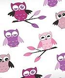 Aminata Kids - Bettwäsche 135x200 cm Eulen Mädchen Frauen Eule lila Baumwolle rosa rose flieder Eulenmotiv Teenager-Mädchen Eule Pastell-Rosa Pink Bettwäsche-Eule Linon mit Reißverschluss - Einzelbett -