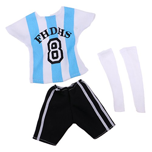 (MagiDeal Puppen Kleidung Fußball Uniform - Uniformhemd + Kurze Hosen + Socken - Bekleidung Für 32 cm Barbie Ken Puppe - # 5 Schwarz Weiß)