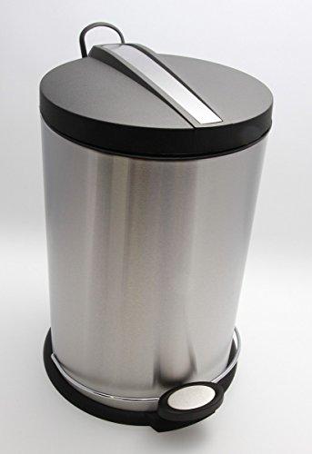 Carpemodo poubelle inox 3 l/poubelle à pédale avec couvercle, mécanisme de couleur noir et avec son seau intérieur amovible poubelle à pédale ronde en acier inoxydable