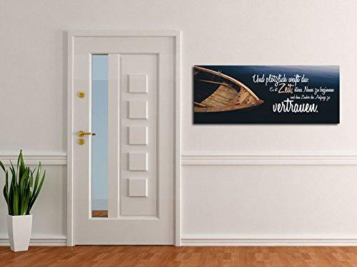 Dalinda® XXL-Wandbild Leinwand Leinwandbild mit Spruch Zeit zu vertrauen… 100x40cm Keilrahmenbild Kunstdruck Wandbild Panorama Leinwandbild LS120