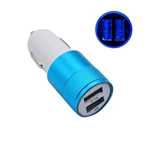HOOUDO 2 Port USB Universalauto Ladegerät für iPhone6 / 6s / 7 iPod/Ipad Samsung (Himmelblau)