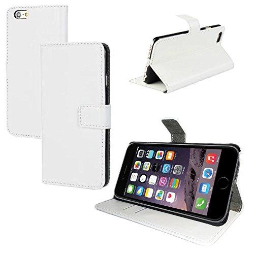 Schutz Hülle für Apple iPhone 6s Tasche Smartphone Flip Case Slim Cover Etui Bag, Farben:Weiß Weiß