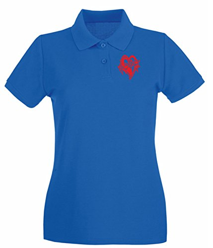 Cotton Island - Polo pour femme FUN0381 718 heart barbwire decal 08369 Bleu Royal
