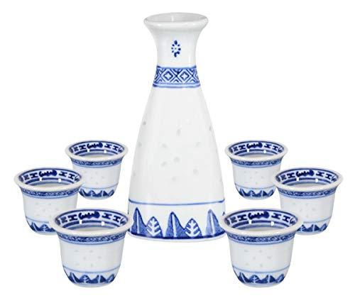 Aricola Sake Set Reiskorn-Design 7-teilig. Service für Reiswein bestehend aus 1 Karaffe 150ml und 6 Trinkbecher 25ml aus Keramik Sake-becher-set