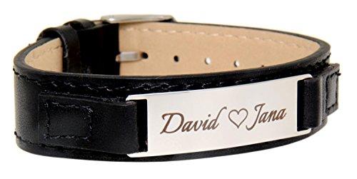 International Connection Schmales Leder-Armband mit Gravurplatte aus Edelstahl, glänzend, für Damen und Herren