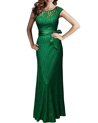 Maxi Robe de Cocktail Femme Elégante Dentelle Formelle Ceinture Dos Nu Longue Robe de Soirée Vert