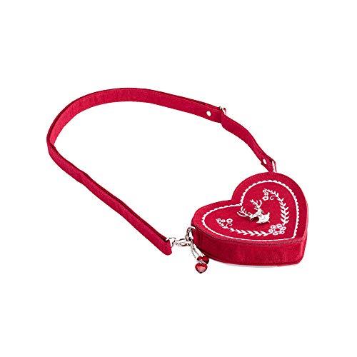 Damen Oktoberfest Tasche - Herz Kostüm Tasche mit Edelweiss, Hirsch Brosche und Herz Blumen Stickerei - Schöne Handtaschen für das Oktoberfest Dirndl (Rote Kostüm Schmuck)