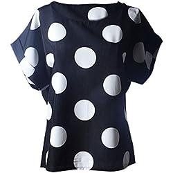 LuckyGirls Camisetas Mujer Manga Corta Verano Lunares Remeras Blusas Camisas (2XL, Negro)